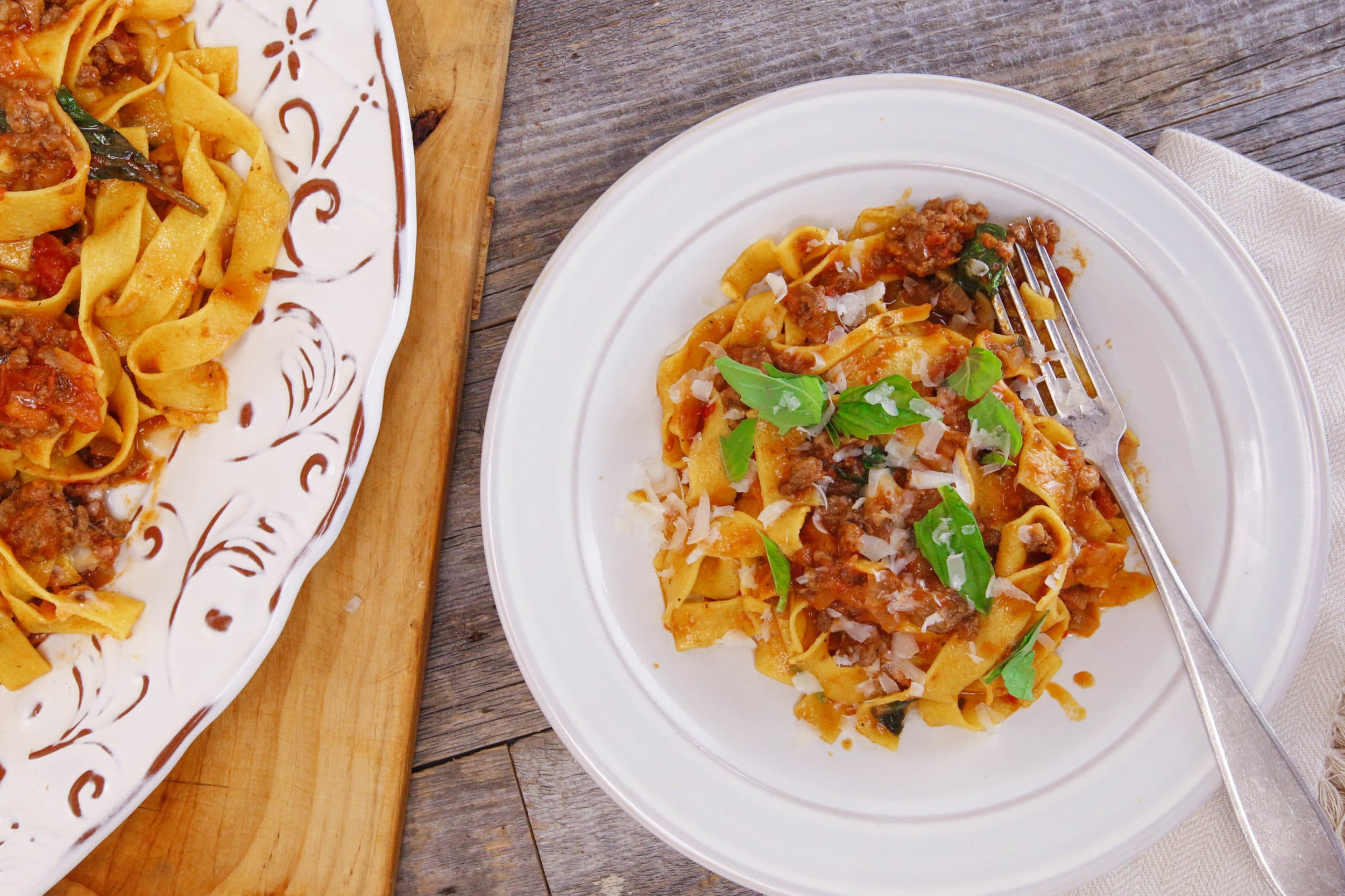 Winter-Spiced Meat Sauce with Pasta Ribbons