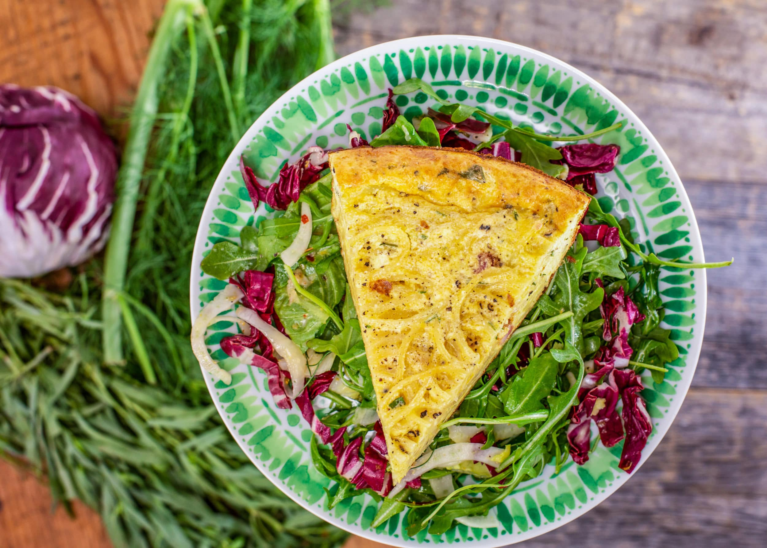 Carbonara Frittata with Ricotta and Mixed Lettuce Salad with Fennel