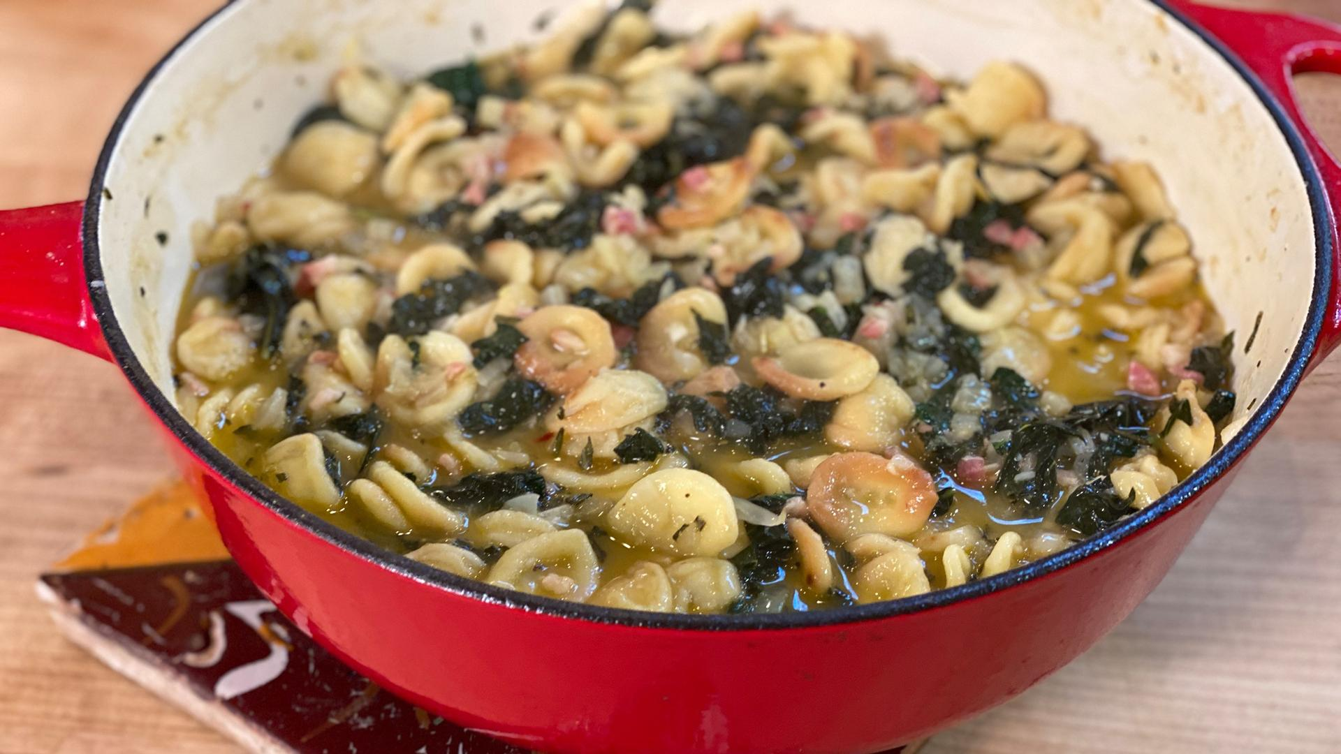 One-Pot Toasted Orecchiette with Pancetta, Fennel + Kale