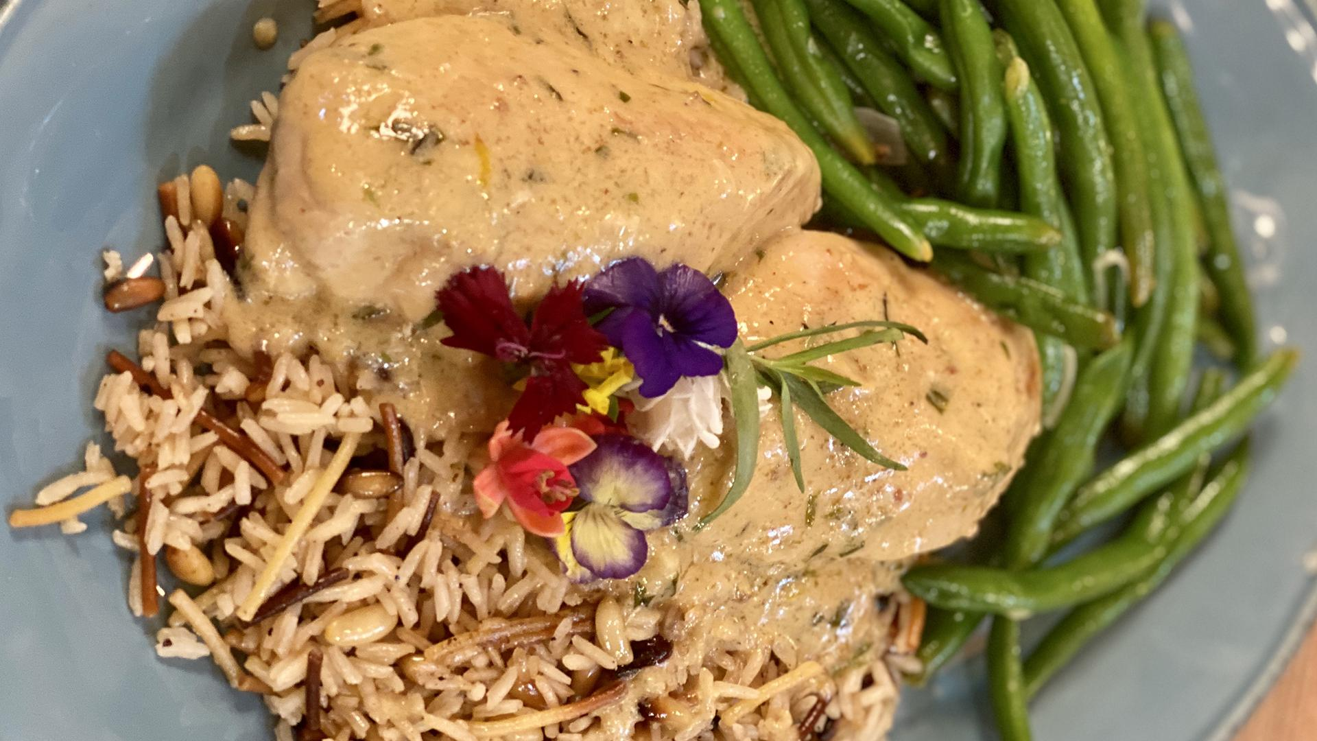 Chicken with Tarragon Cream Sauce, Green Beans with Shallots + Rice Pilaf