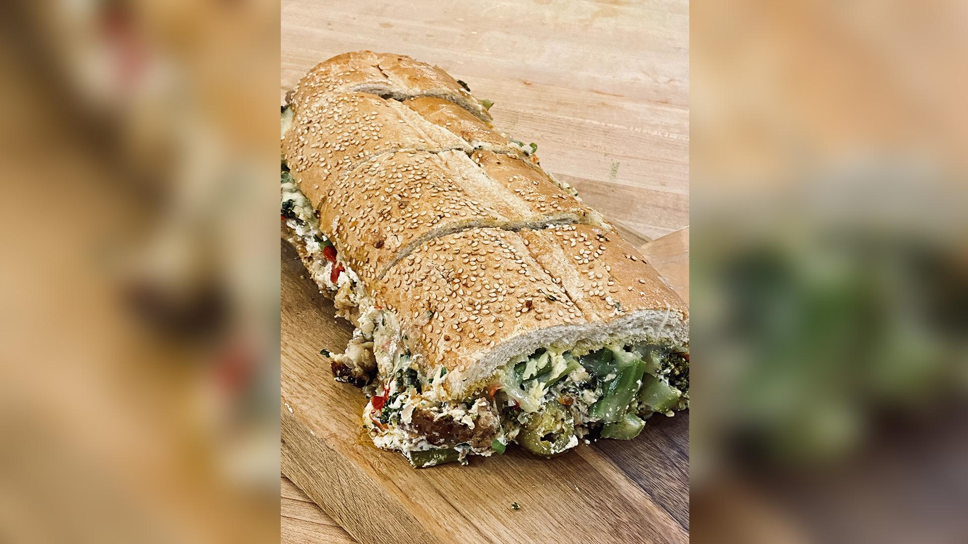 Easy Stuffed Bread with Sausage and Broccolini