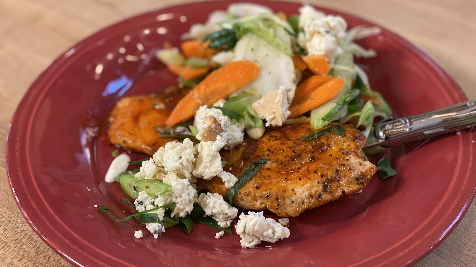 Buffalo Chicken Paillard With Slaw, Blue Cheese & Scallions