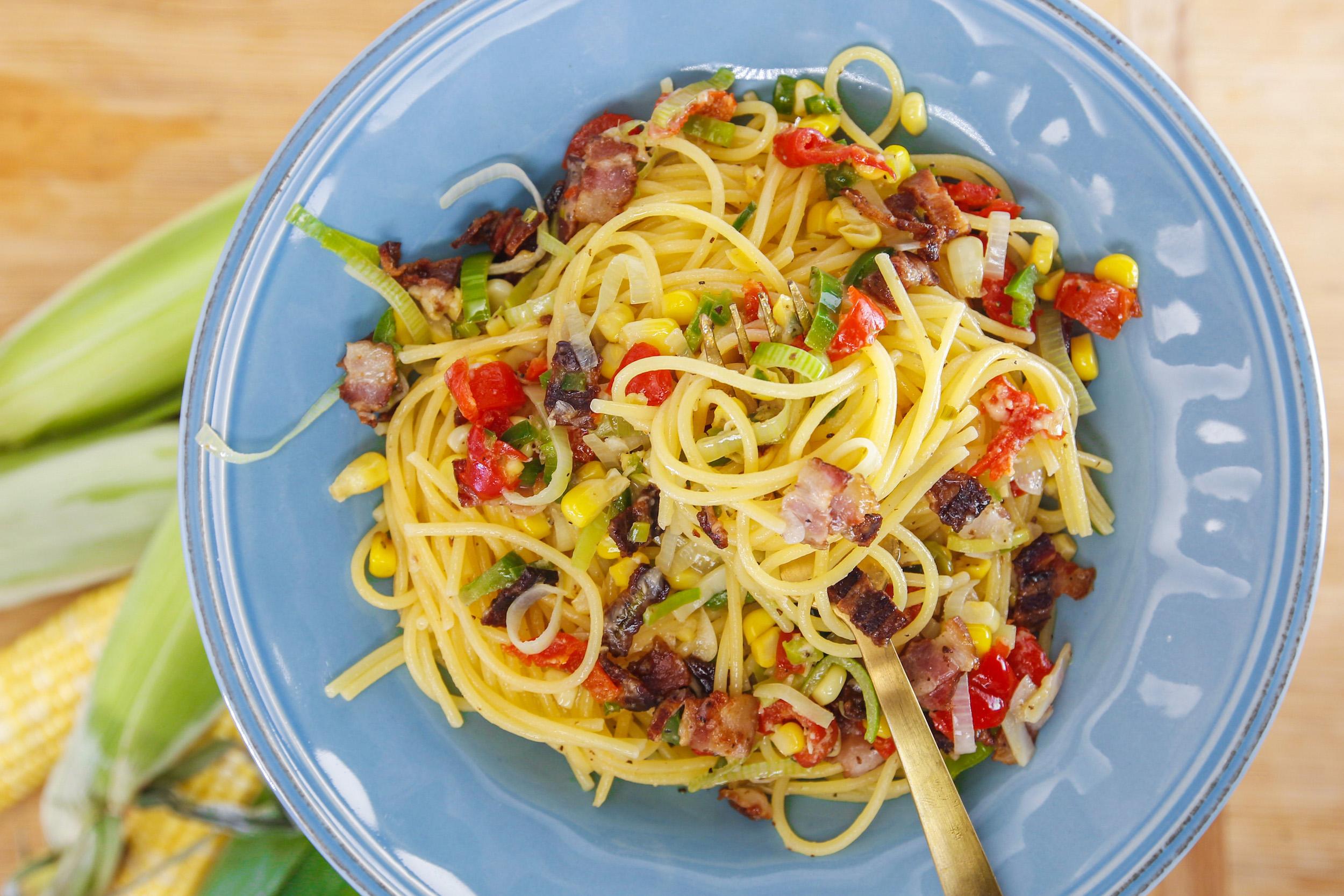 Rachael's Spaghetti with Bacon, Corn, Jalapeños and Peppadews