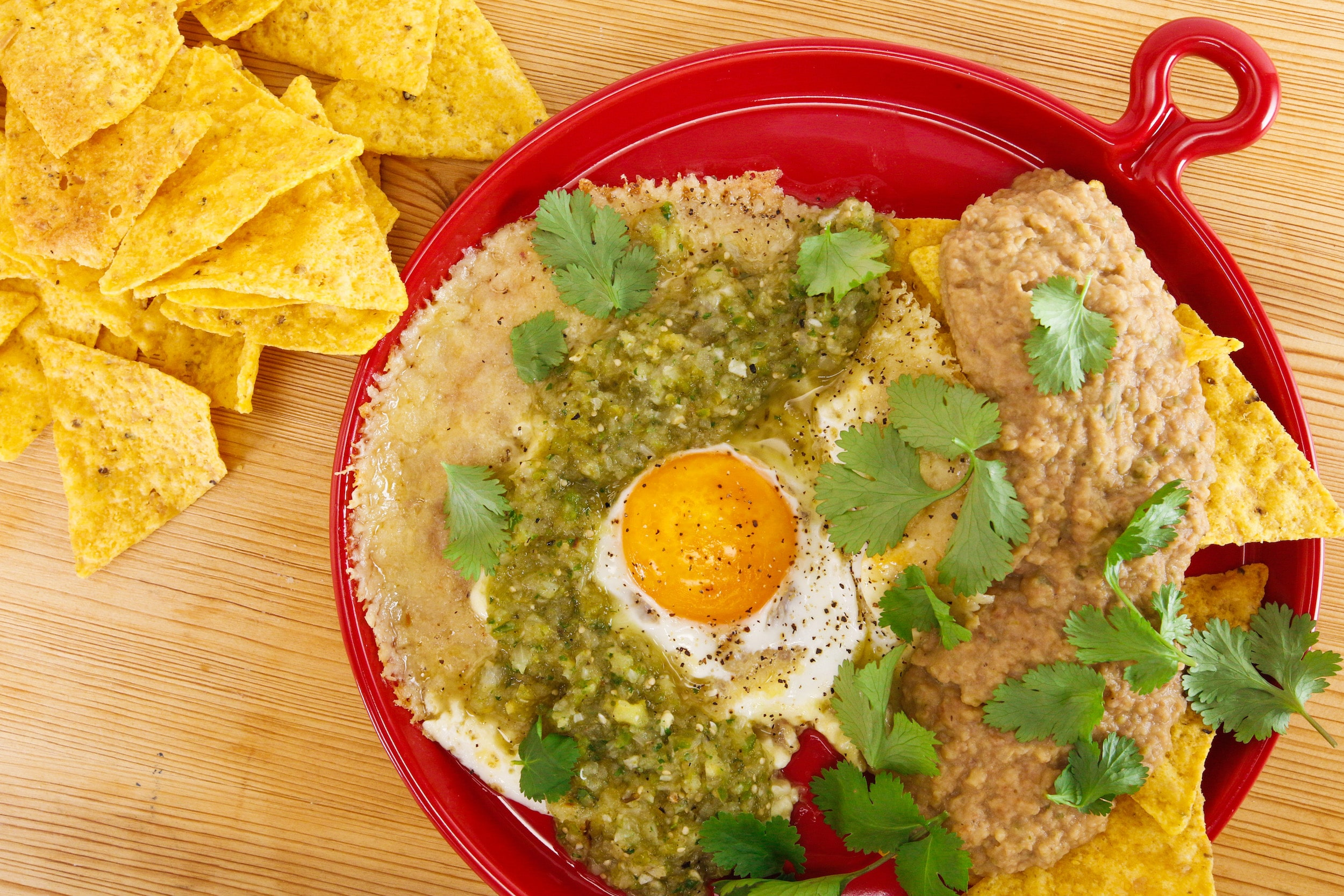 Rachael's Pepper Jack Frico Eggs with Salsa Verde and Bean Dip 'n' Chips