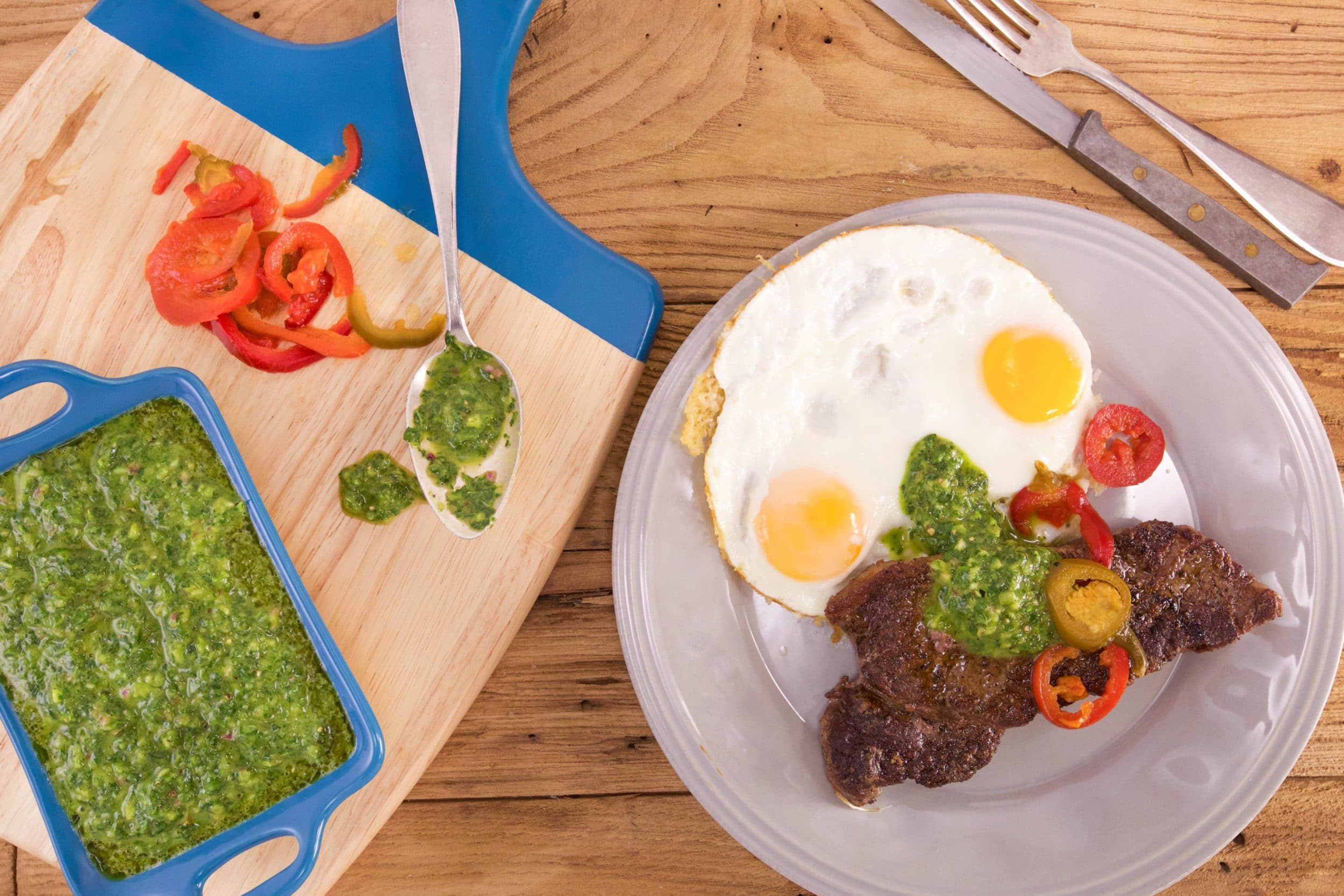 Steak with Salsa Verde and Parm Frico Eggs