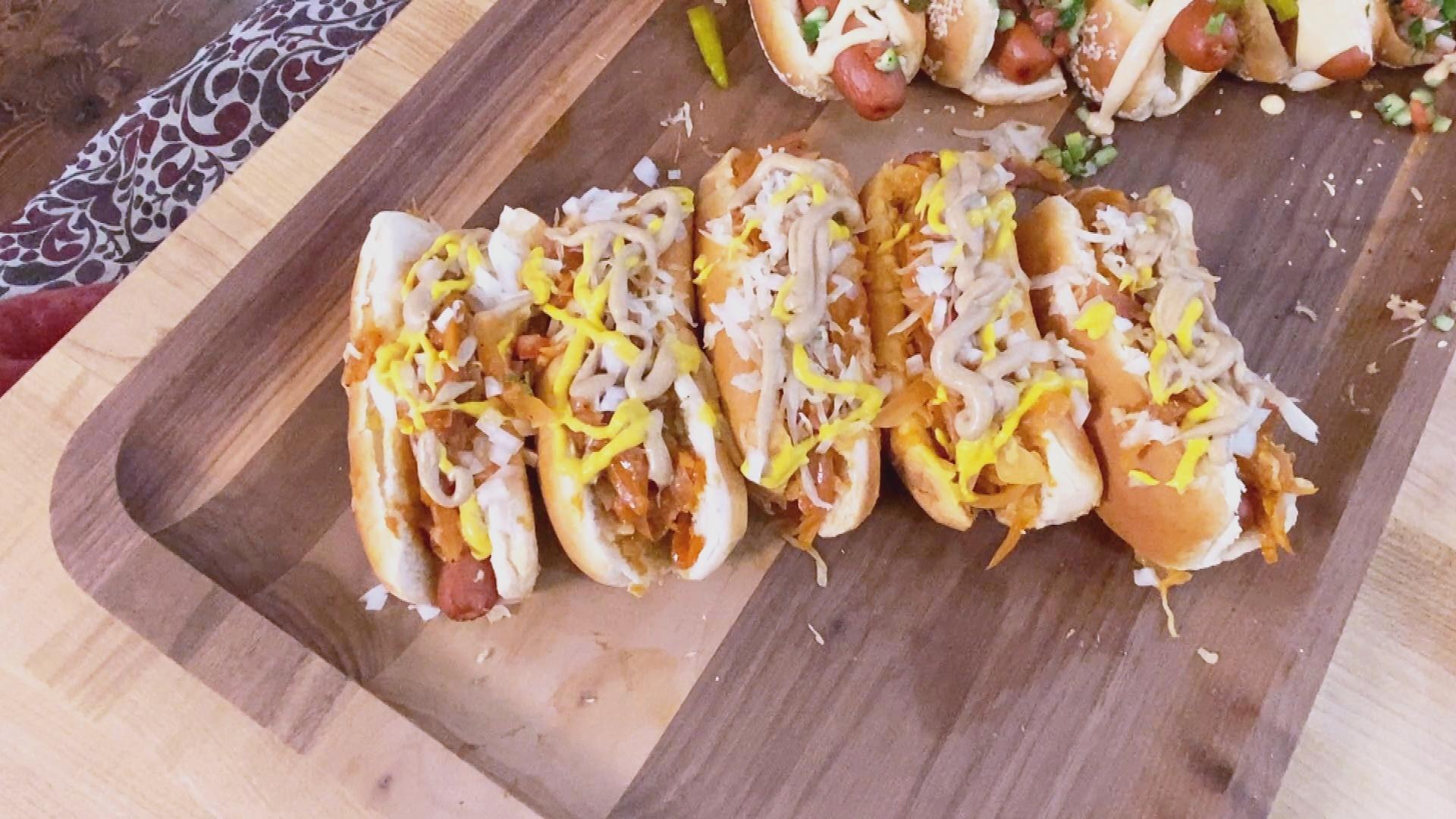 NYC Dogs With Sabrett's-Style Onion Sauce + Sauerkraut