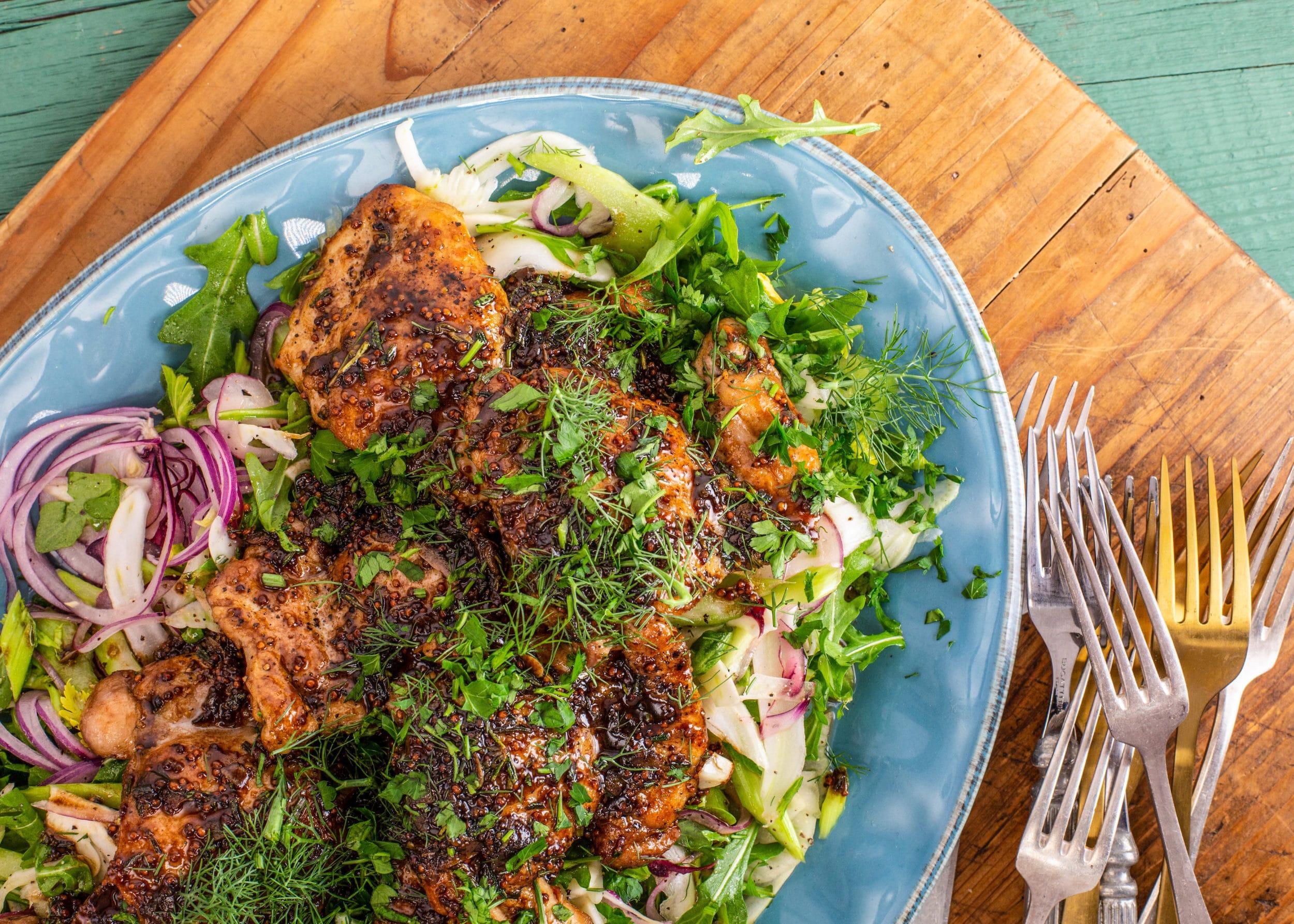 Rachael's Balsamic-Glazed Chicken with Fennel & Celery Slaw