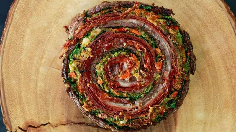 Muffaletta Pinwheel Steaks and Roasted Broccoli