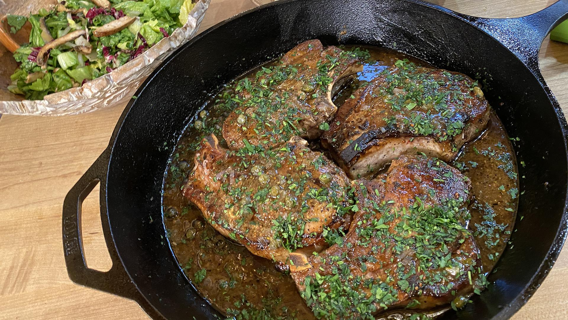 Pork Chops with Maple, Mustard & Capers