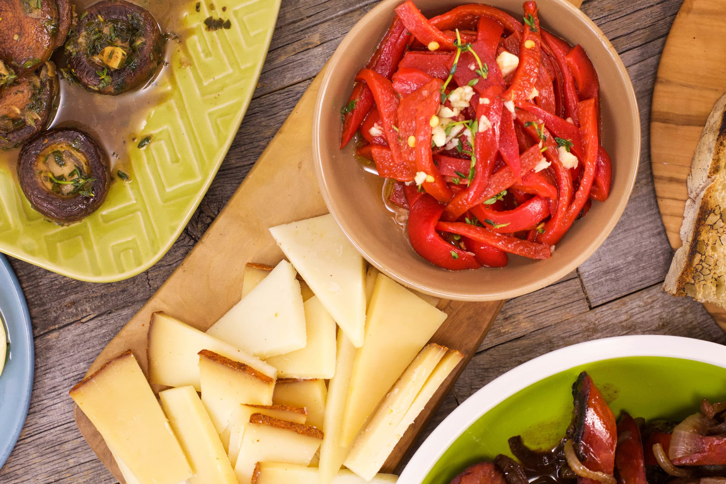 Paprika Manchego with Pequillo Peppers and Spanish Olives