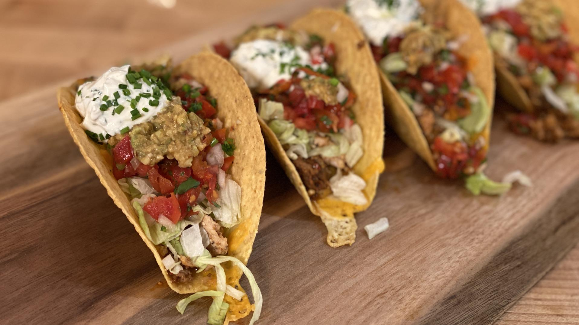 Seven-Layer Tacos With Chicken and Chorizo | Hard Shell Taco Recipe