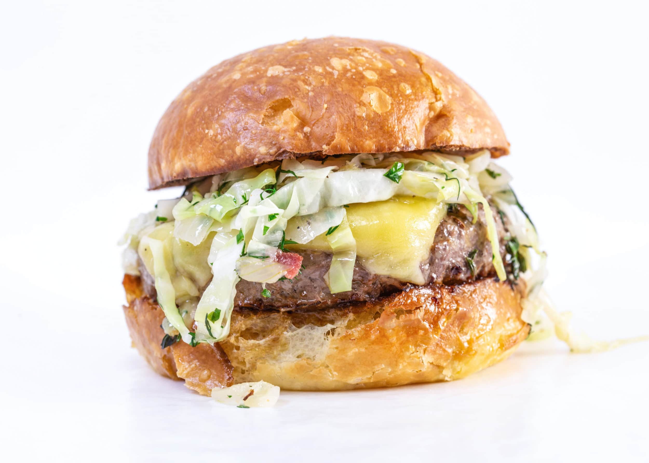 Paddy Patties: Rachael's Irish Burgers with Cheddar and Warm Bacon Slaw