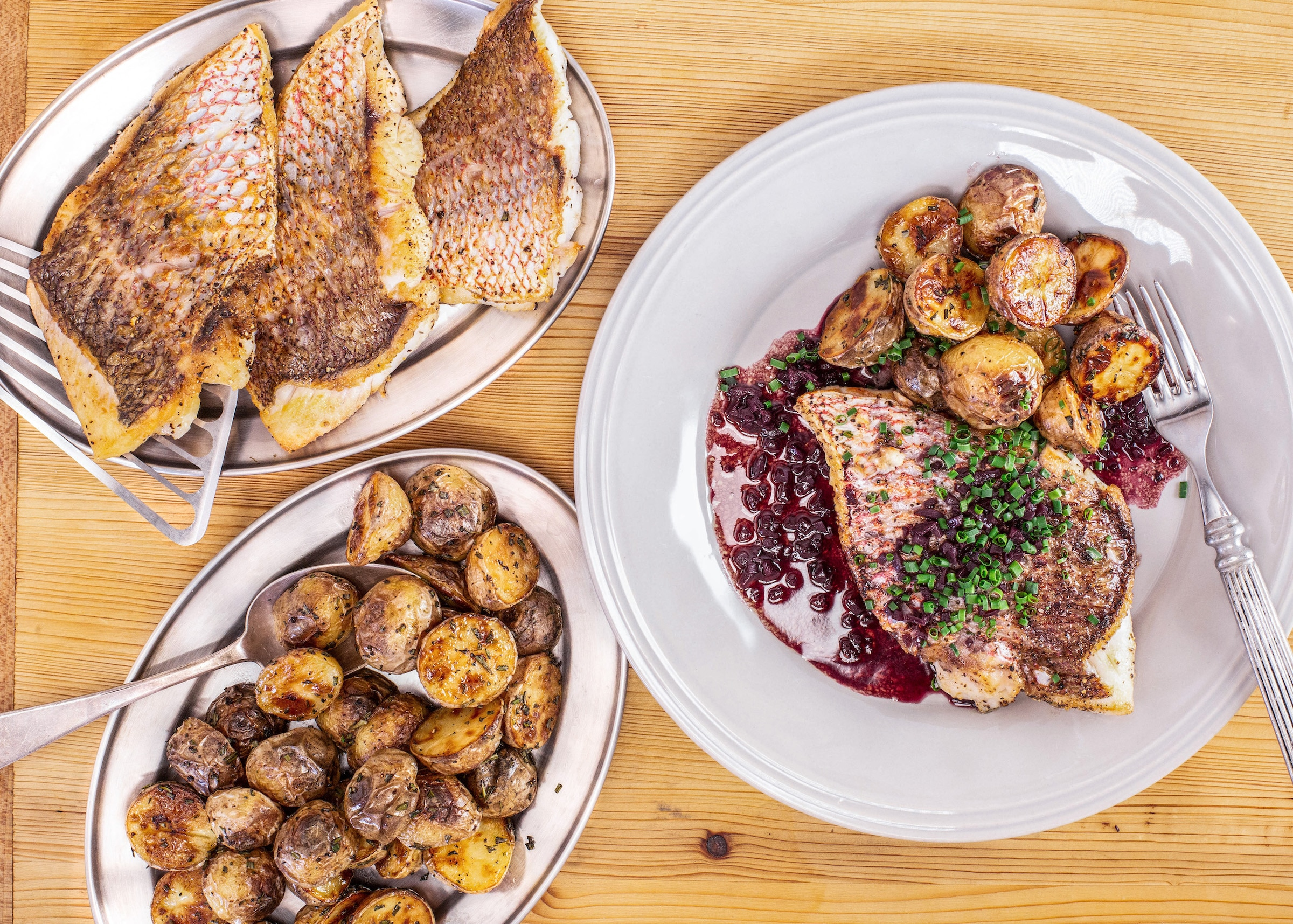 Rachael's Fish With Red Wine Sauce And Rosemary Potatoes