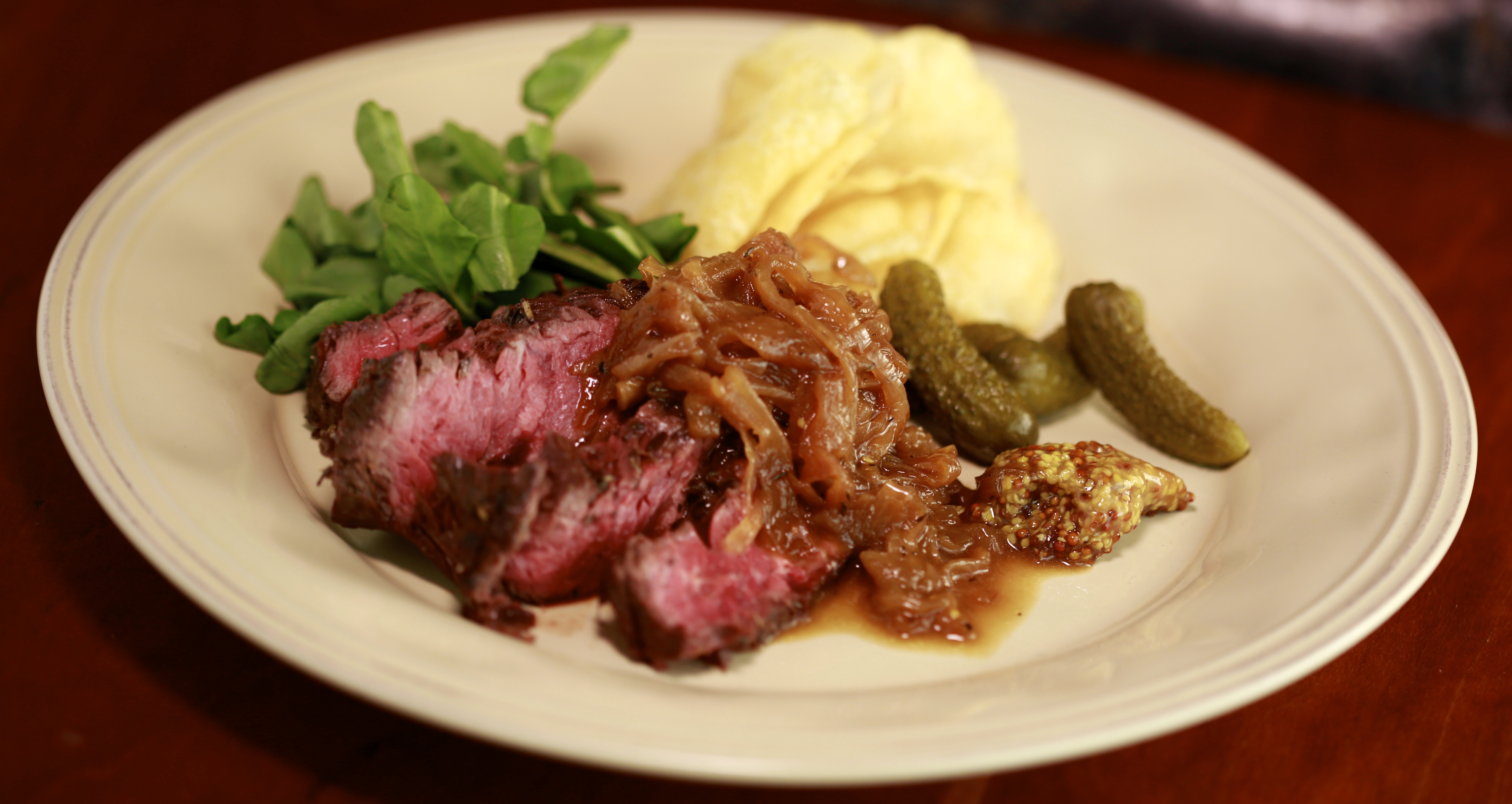 Hanger Steaks with French Onion Sauce