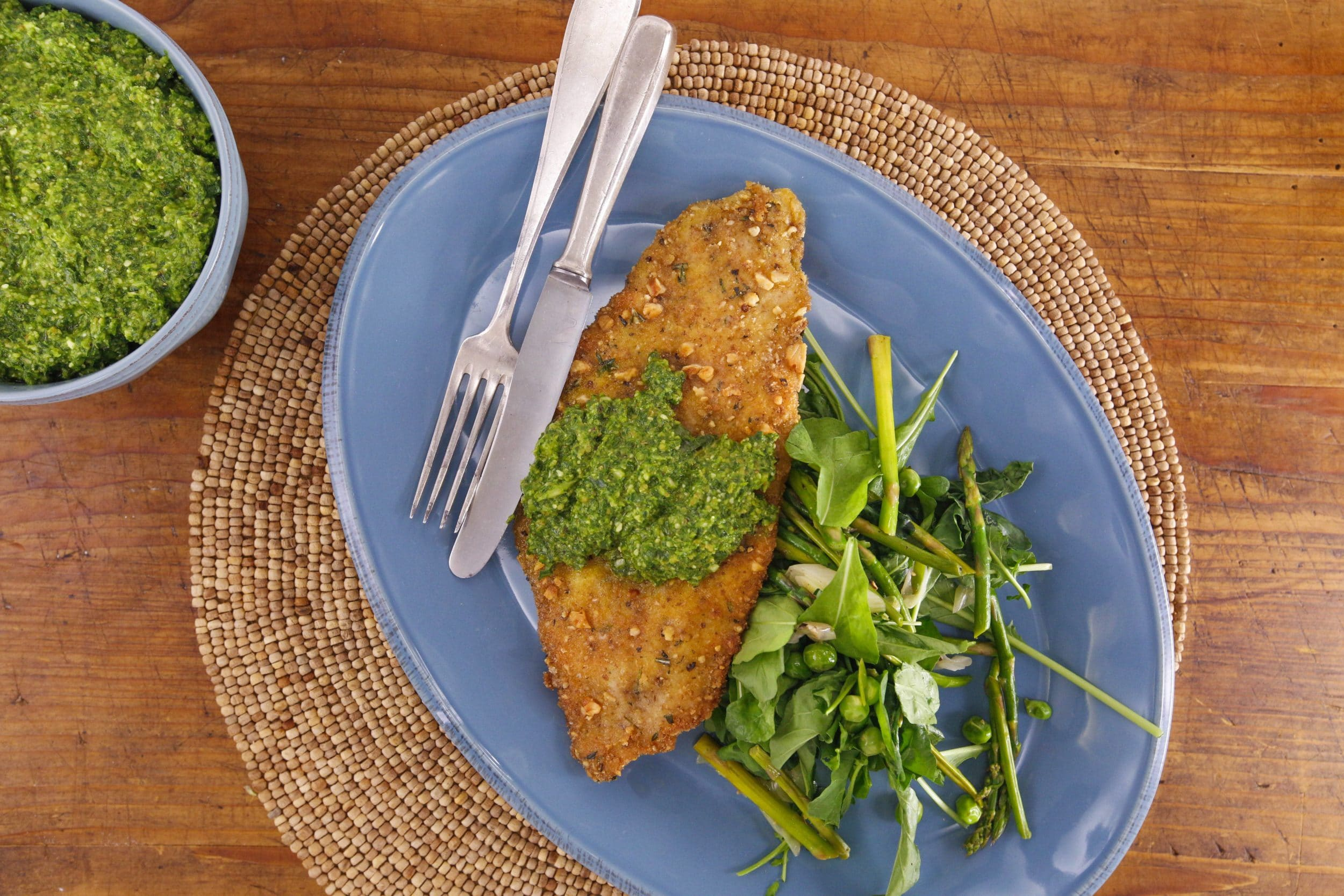 Filet of Sole Cutlets with Lemon-Chard Pesto, Spring Vegetables and Arugula
