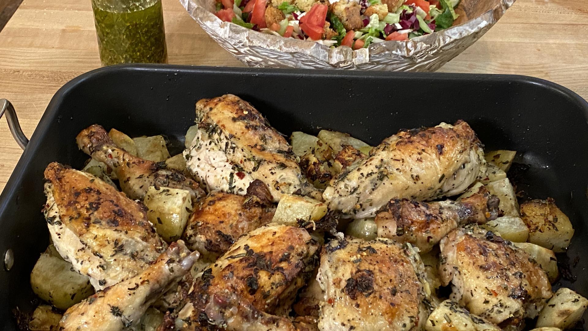 Garlic Herb Roast Chicken With Potatoes