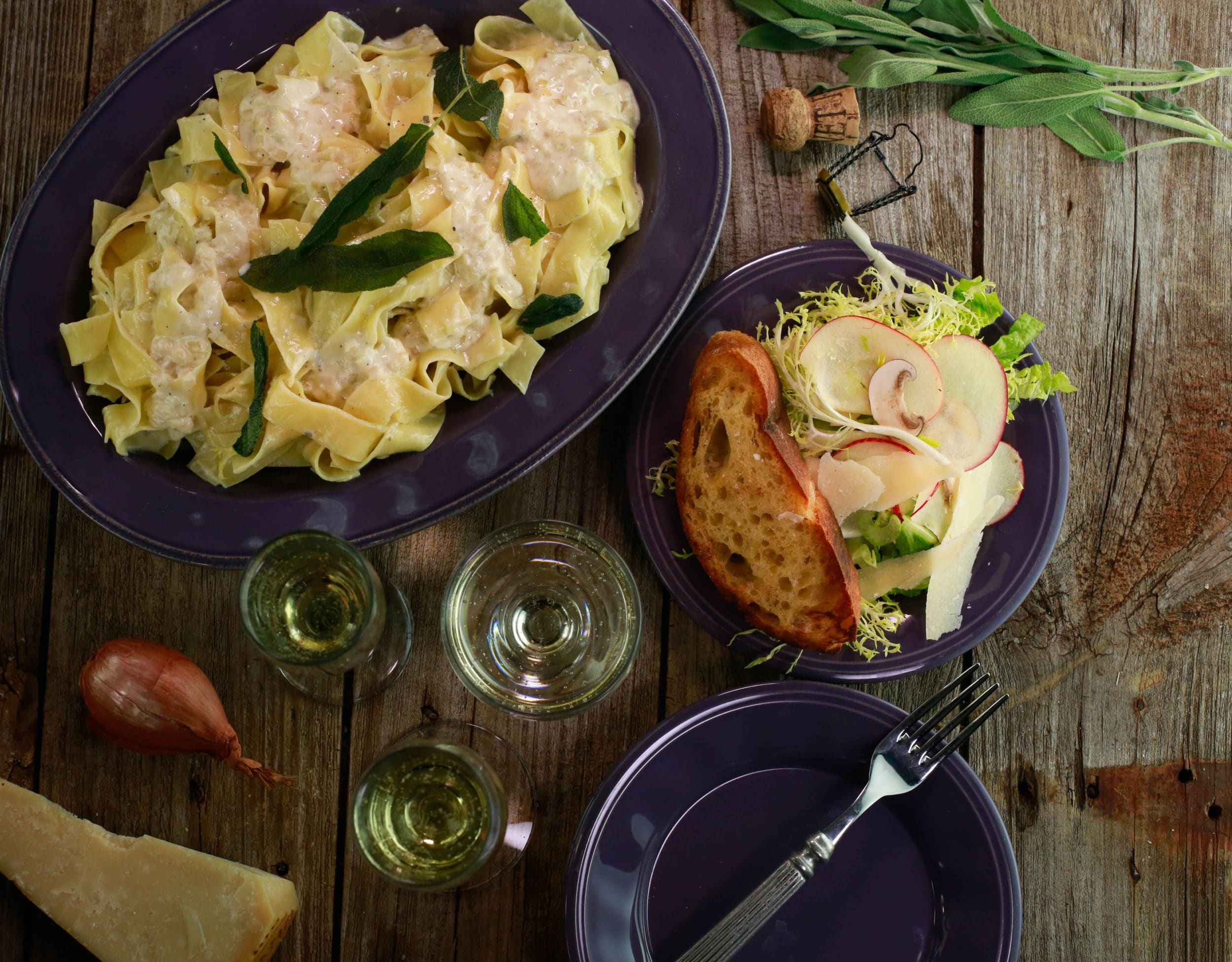 Fettuccine with Champagne Cream Sauce and Sage Toast