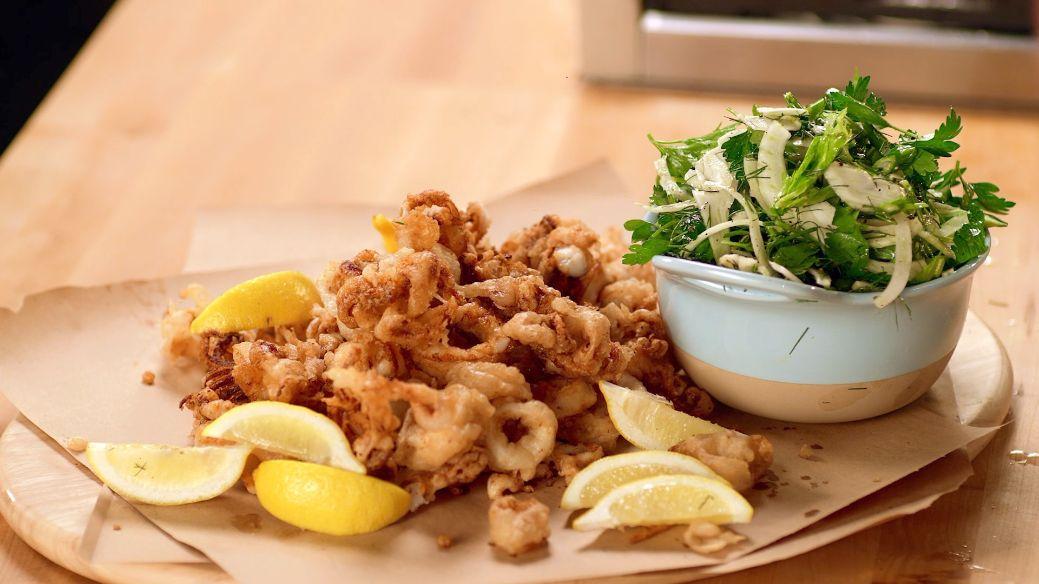 Easy Fried Calamari with Fennel-Celery Salad