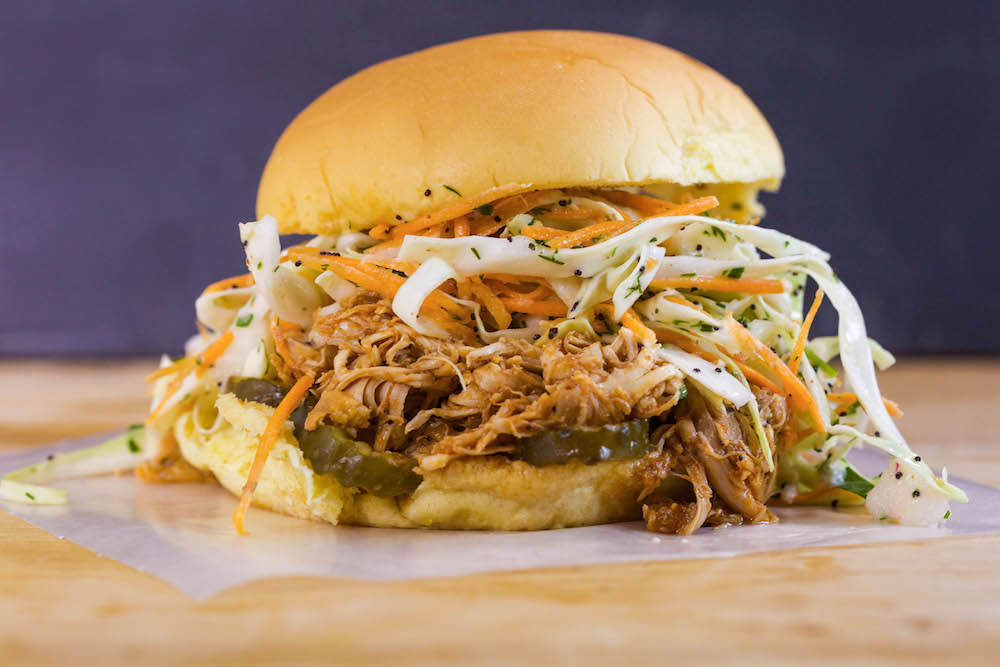 Smoky, Pulled Chicken Barbecue Sandwiches with Poppy Seed Ranch Slaw