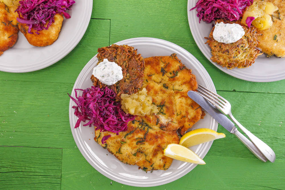 Chicken Schnitzel and Applesauce with Parsnip Cakes and Horseradish Sauce, and Red Cabbage with Juniper