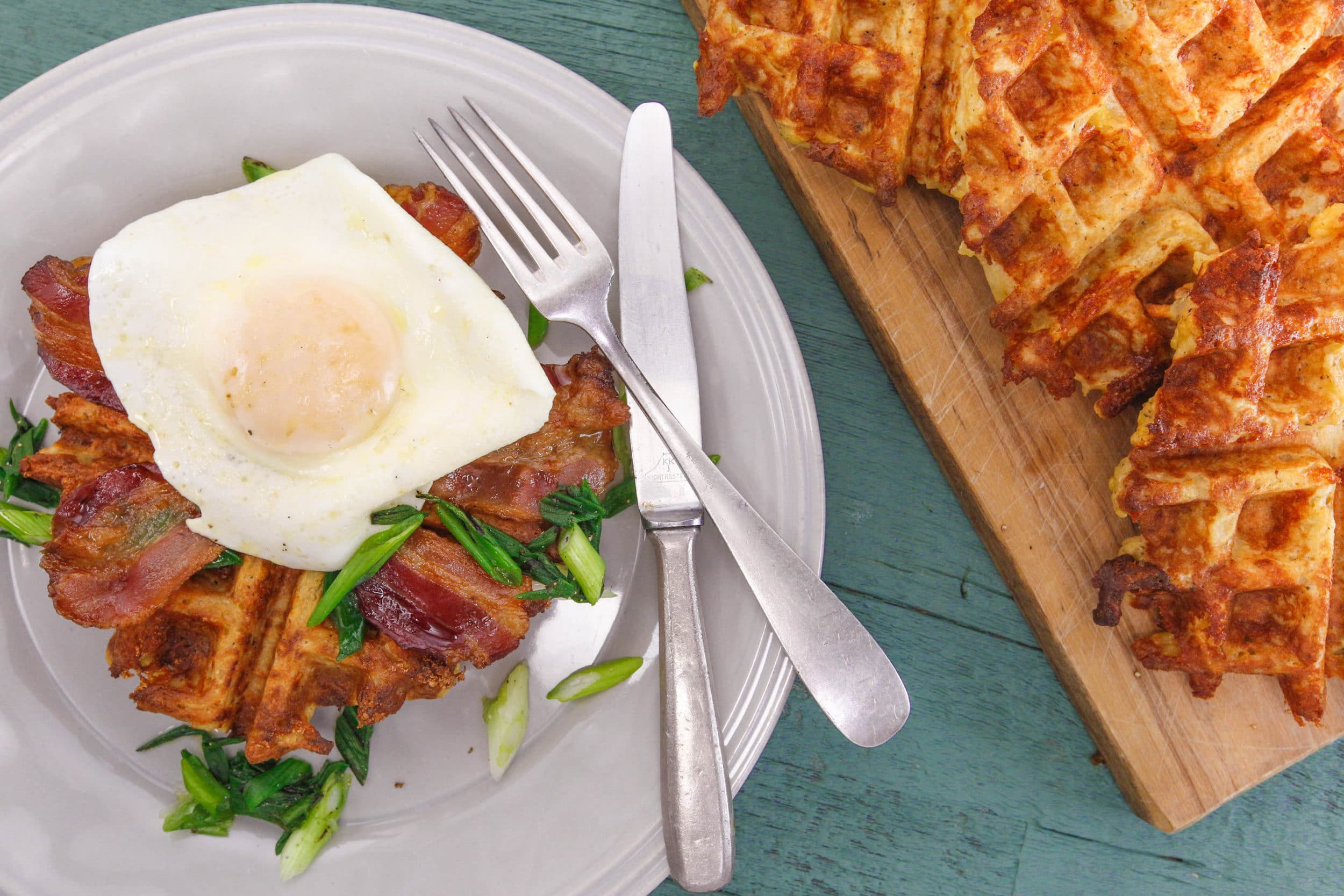 Rachael's Potato Waffles with Bacon, Eggs and Charred Green Onions