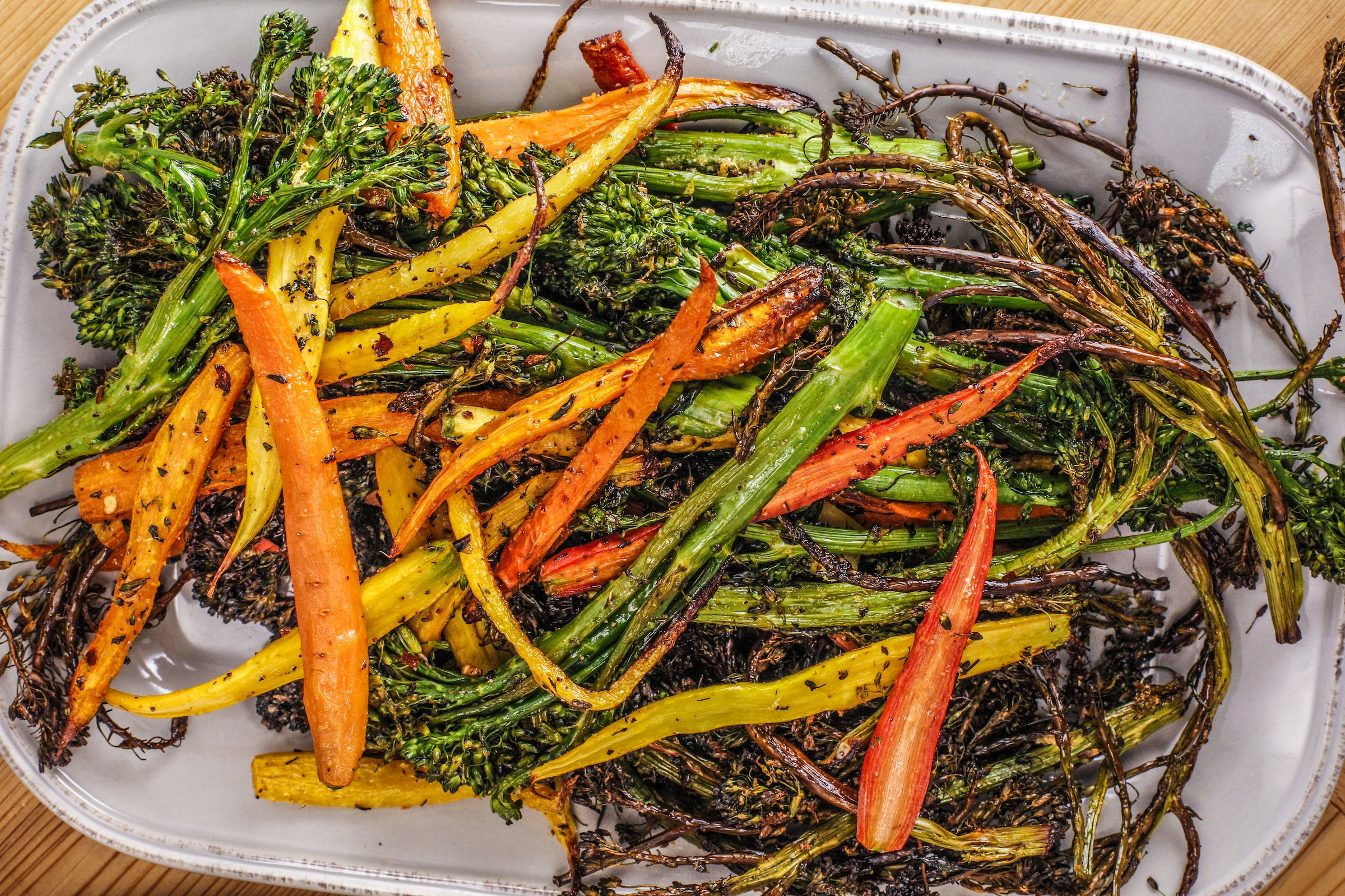 Rachael's Roasted Broccolini and Baby Carrots