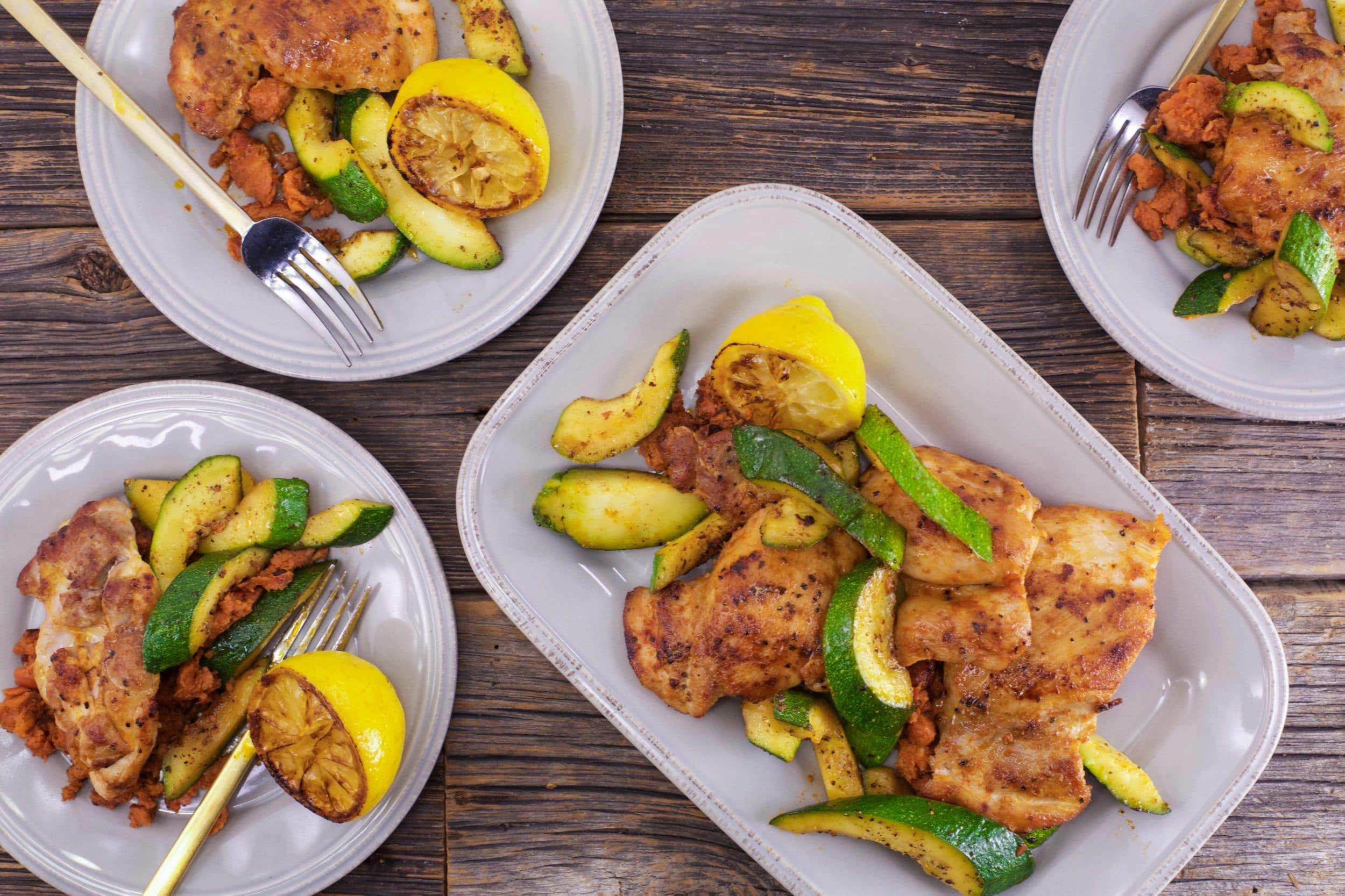 Smoky Chicken Thighs and Zucchini
