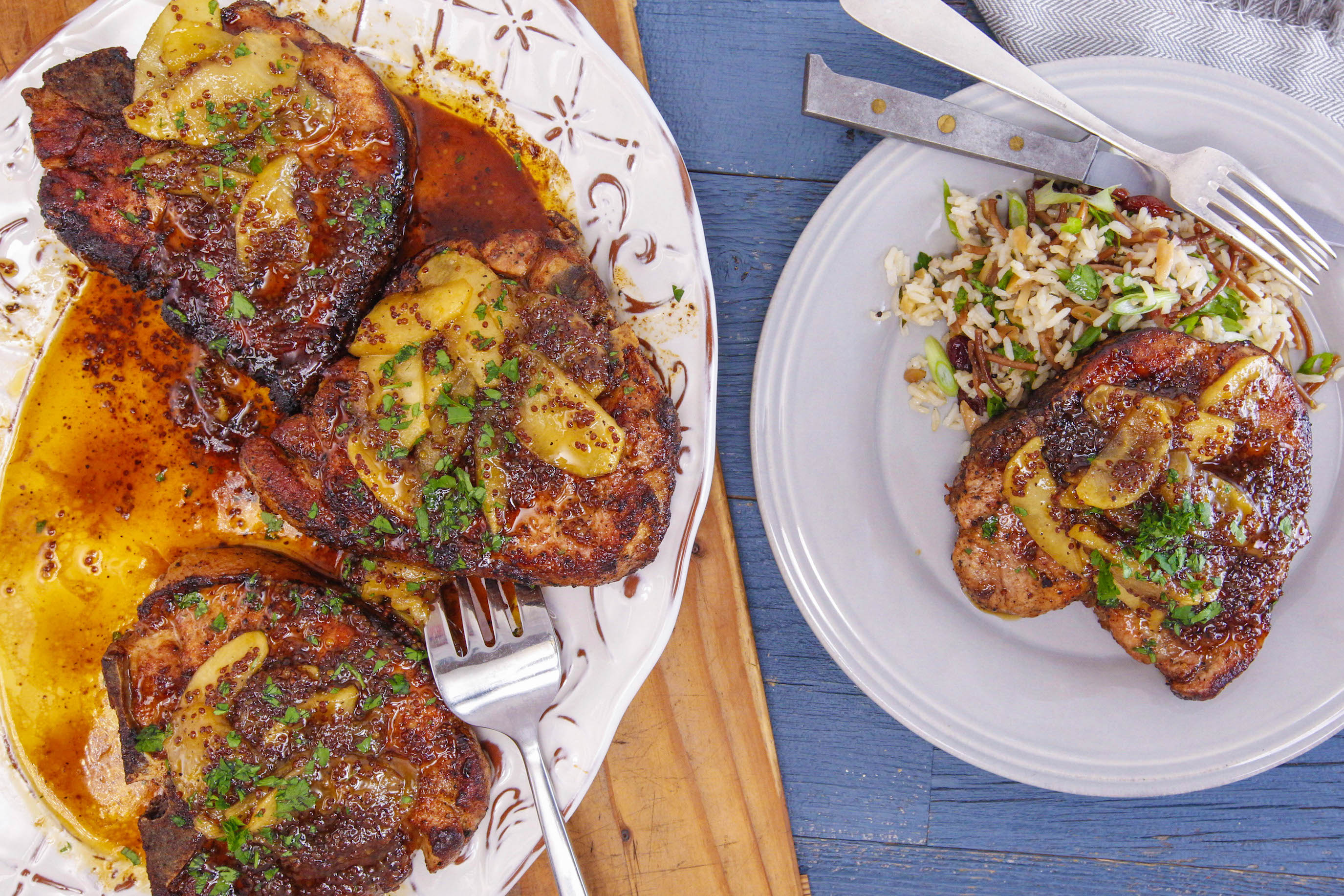 Maple-Mustard Chops with Apples and Fancy Rice with Cranberries
