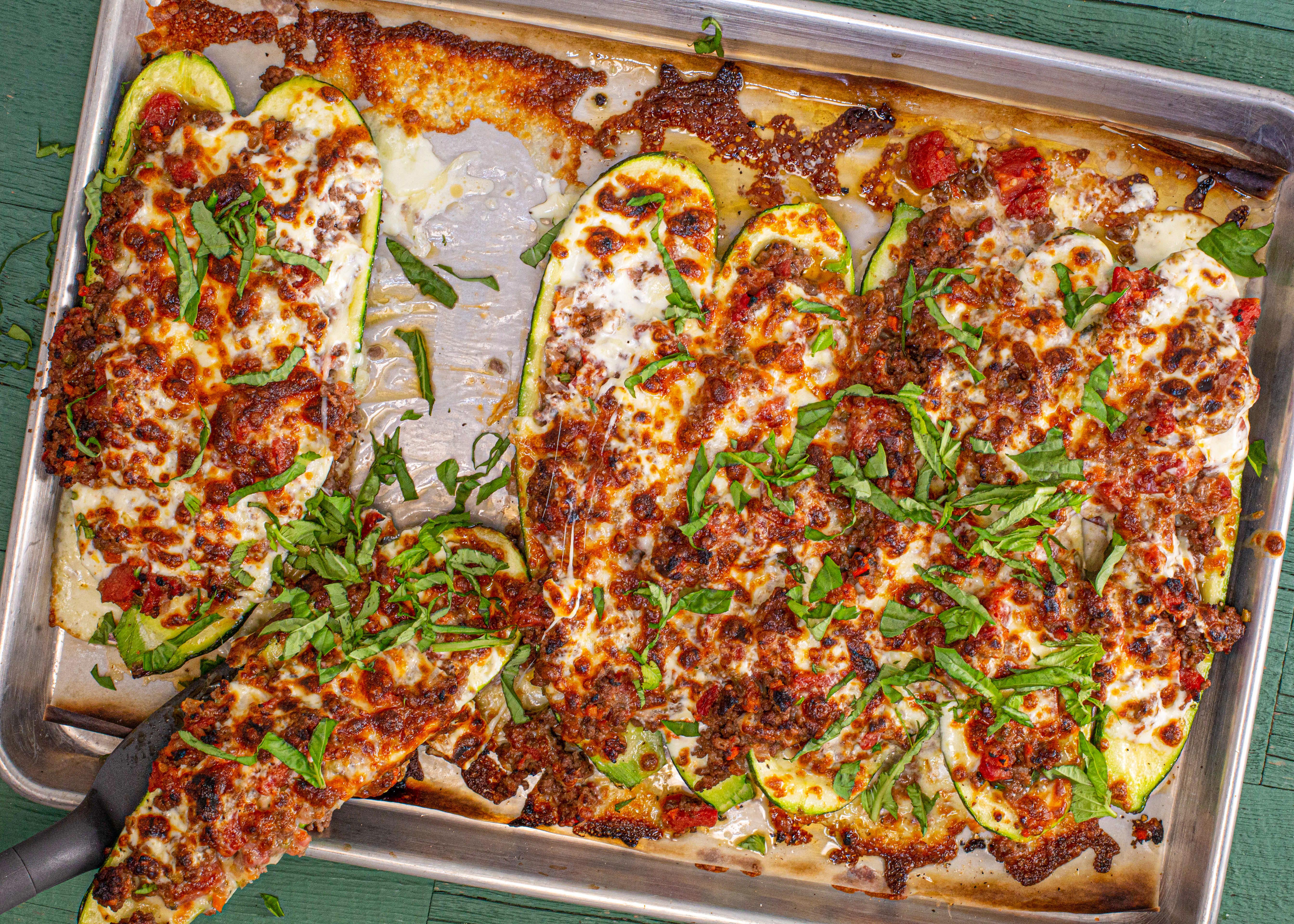 Keto Lasagna-Style Stuffed Zucchini