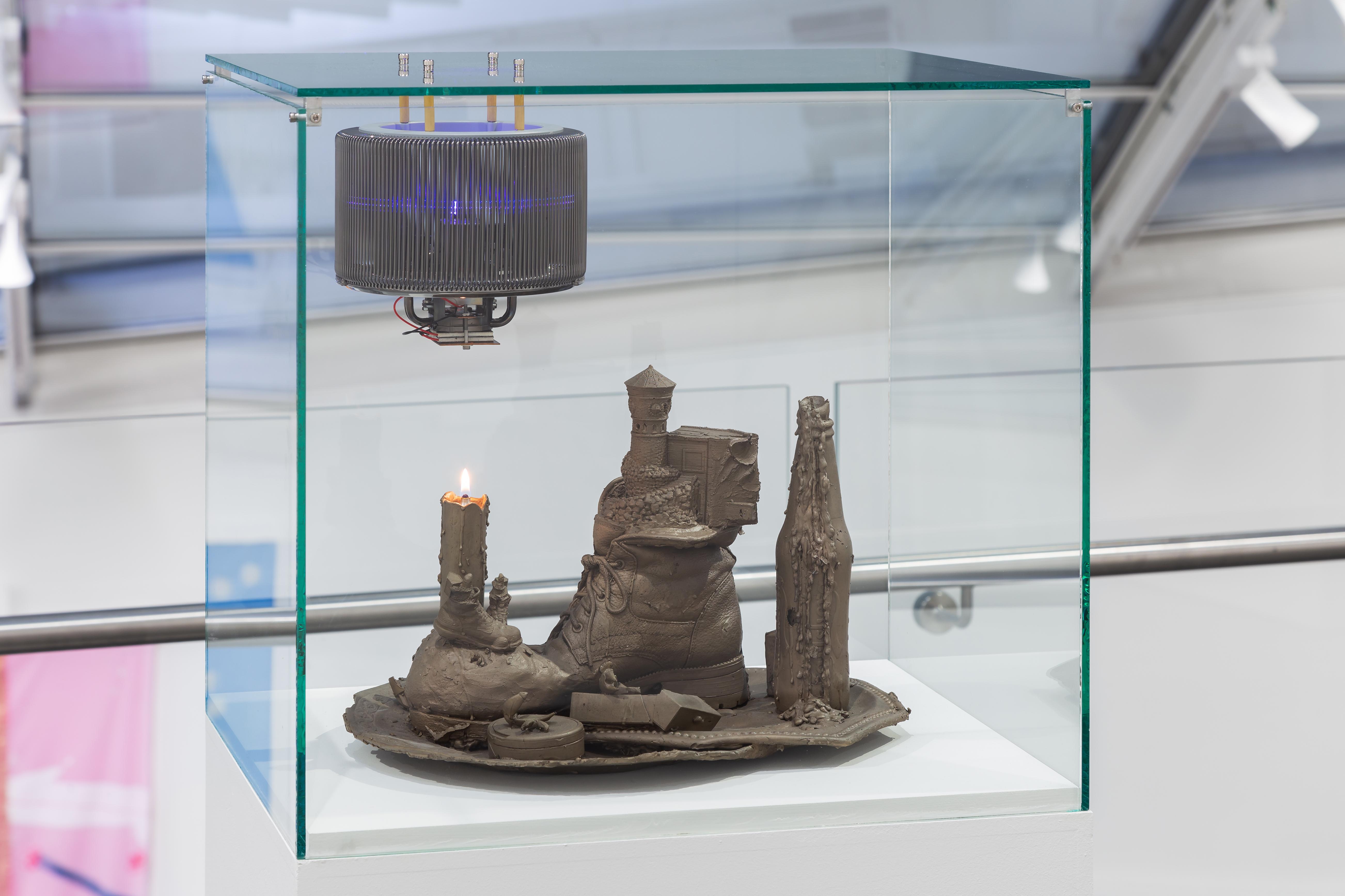 I,II,I 2019 Bronze,glass case,glass flask,lamp oil,cooling element,Peltier,LED-light:photo Astrup Fearnley Museum