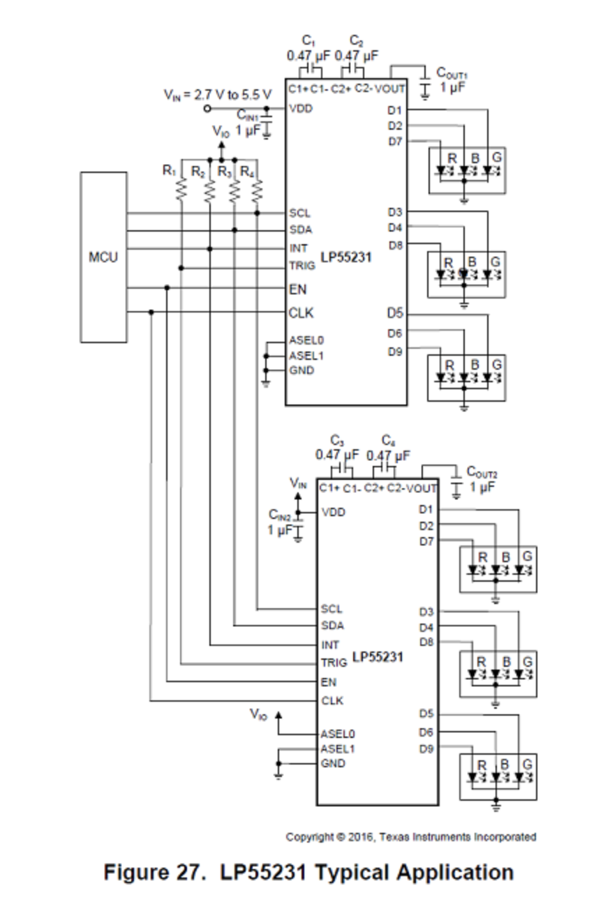 Rgb Led Drivers Illuminate Millions Of Colors Octopart Driver Circuit Related Images Using Two Lp55231 In The Same Application This Is Found On Page 46 Nine Channel White With Internal Program Memory And Integrated