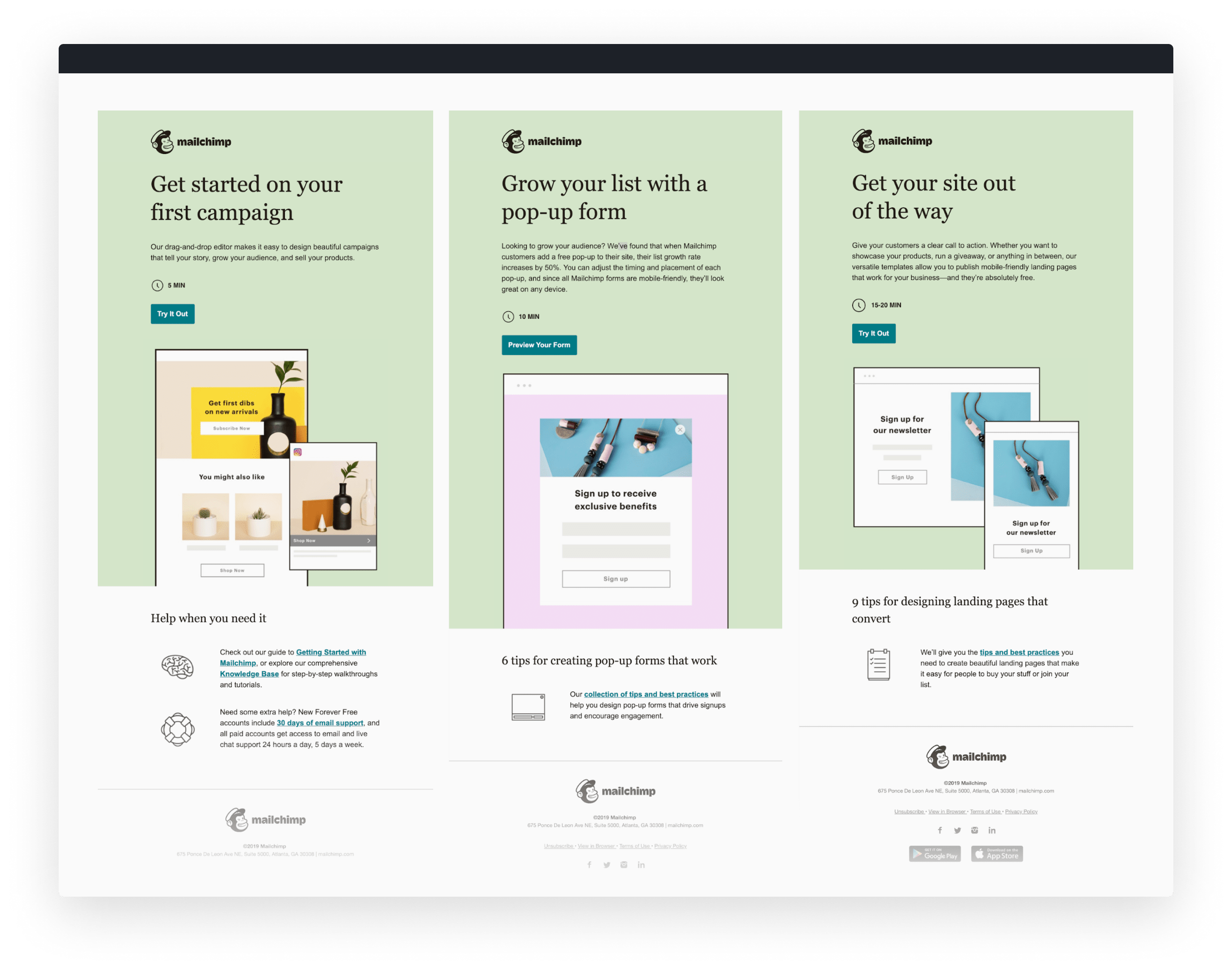 Just a few of the emails in Mailchimp's updated onboarding program.