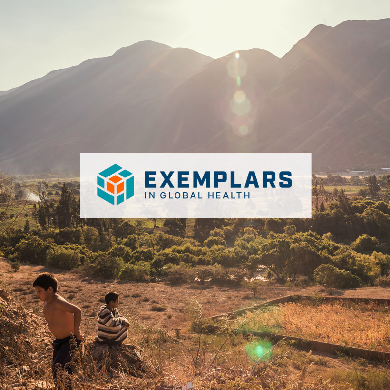 Exemplars in Global Health logo over a field with a family