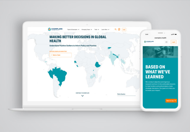 Exemplars in Global Health website on laptop and mobile device