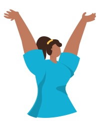 Woman throwing her arms in the air in celebration