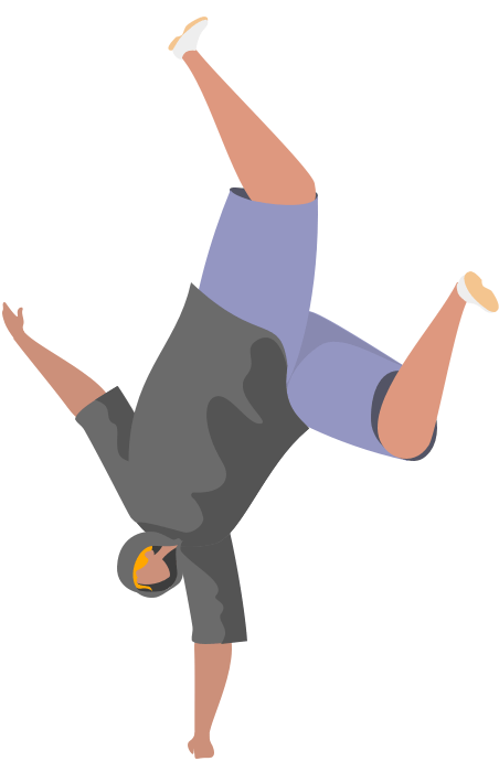 Person doing a headstand to showcase their agility skills