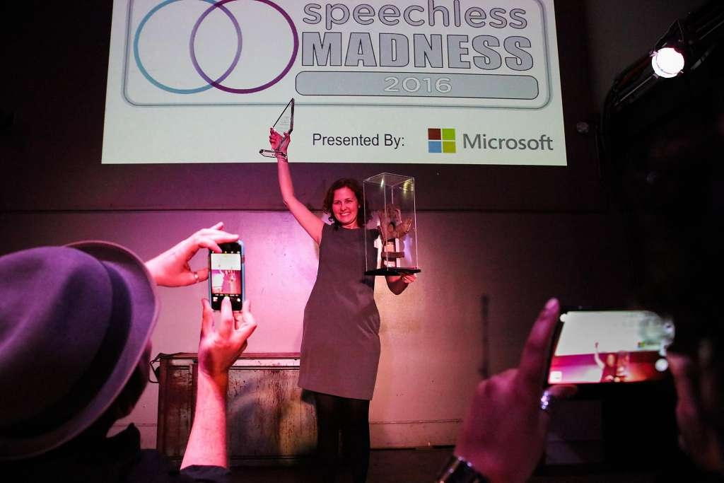 Ellie Powers, of Google celebrates her win, at the improv show Speechless. Source: San Francisco Chronicle