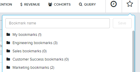 Bookmarks in Amplitude can be saved to specific team folders
