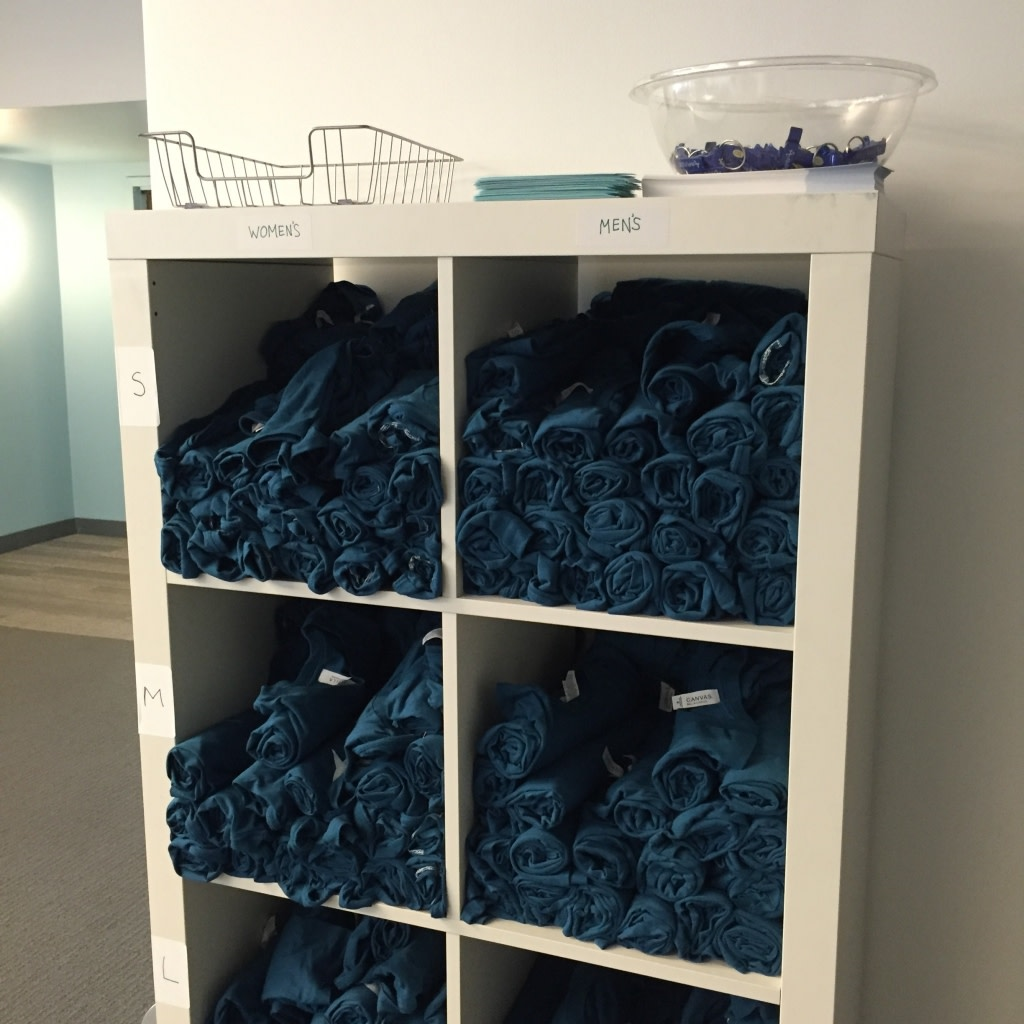 The Datamonster T-shirt Shelves, now separated by women's and men's sizes.