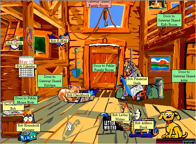 Screenshot of the Microsoft Bob interface, complete with your friendly guide Rover.