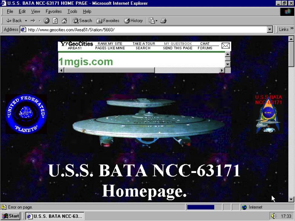 A site that was taken down in 2009 when Geocities shut down, via One Terabyte of Kilobyte Age
