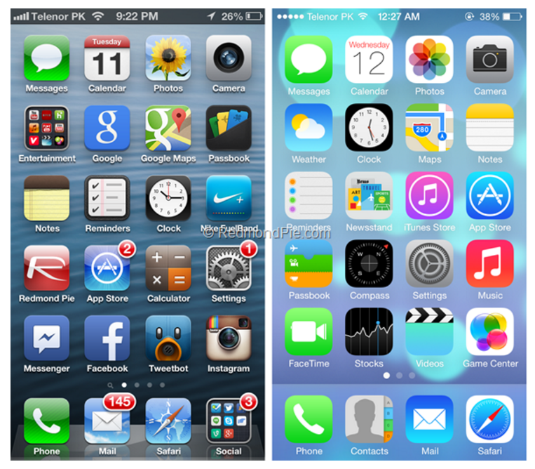 iOS 6 vs iOS 7 head-to-head