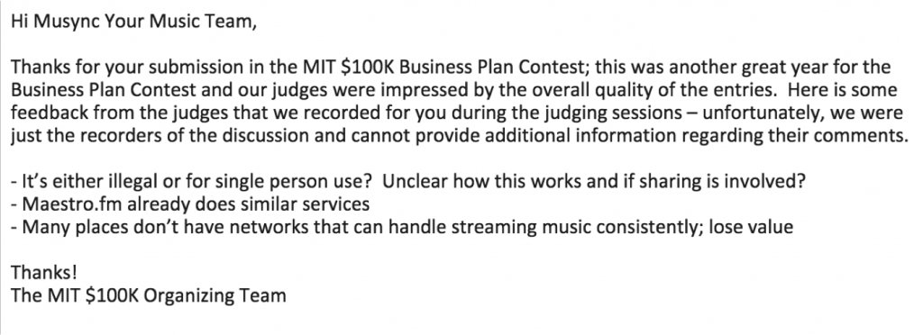 musync-MIT-100k-business-plan-competition-rejection