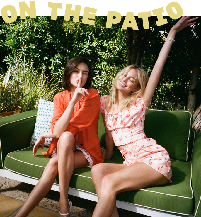 on the patio: sunset colored outfits