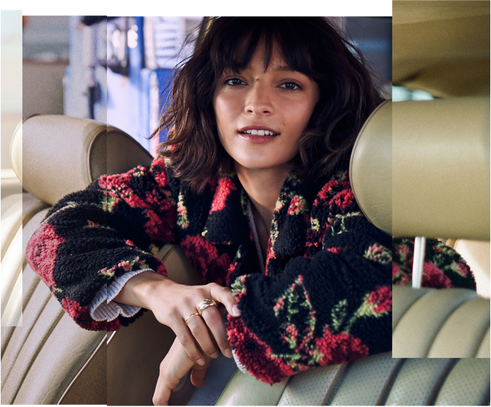 A Patterned floral teddy coat for the drive home.