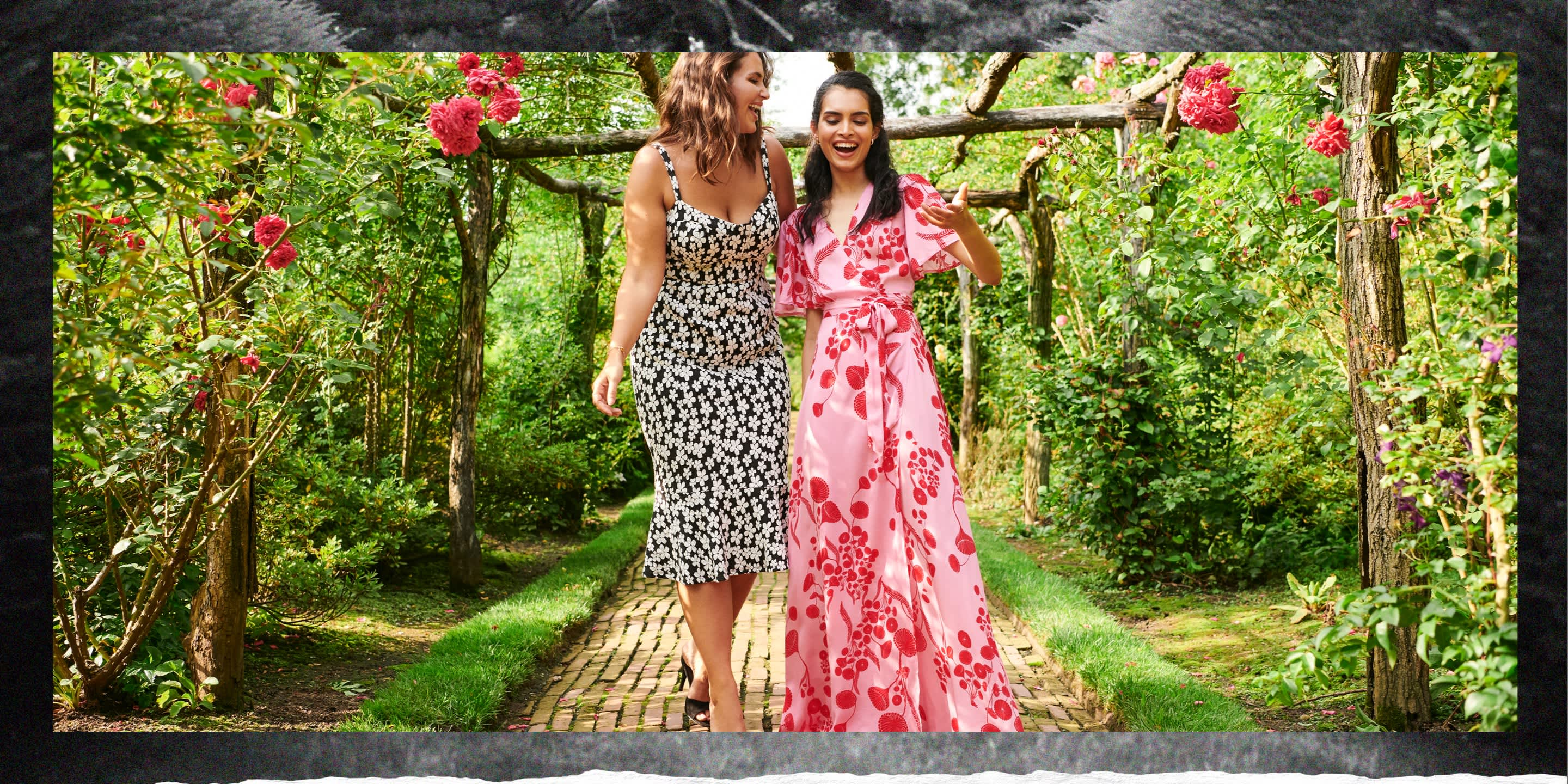 Models wearing occasion dresses in a luscious rose garden.