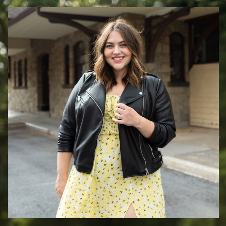 maxey's transitional layers: black leather jacket with yellow dress