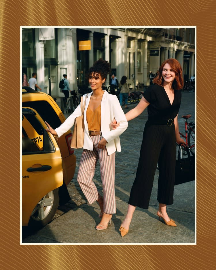 Striped pants and sleek jumpsuits, perfect for your early morning commute.