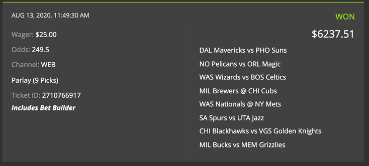 DK epic win parlay