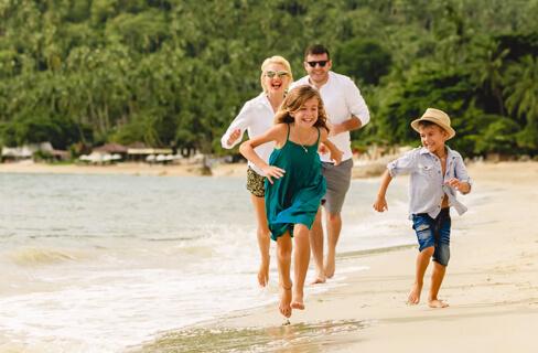 family running beach